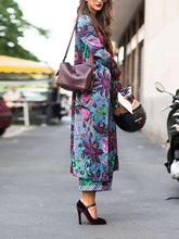Fashion Floral Print Slim Long Sleeve Coat
