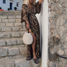 Sexy Leopard Print Deep V Neck Slit Dress