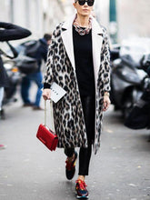Fashion Lapel Leopard Printing Overcoat
