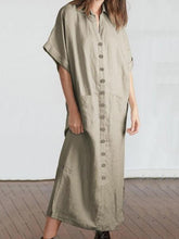 Dovechic Loose Solid Color Maxi Shirtdress