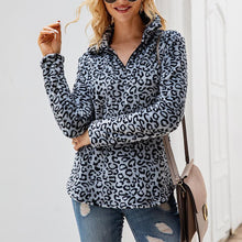 Women's Casual V-Neck Long Sleeve Leopard Print Loose Sweatshirt