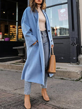 Brief blue loose long sleeves long woolen coat