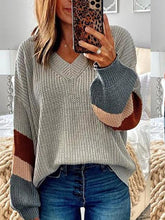 Women's V-neck Colorblock Sleeve Sweater