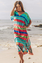 Cotton Colorful Striped Irregular Print Beach Cover Ups