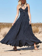Dovechic Spaghetti-neck Bow-embellished Polka-dot Maxi Dress