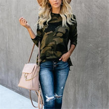 Women's round neck split zipper camouflage knit top