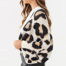 Classic Leopard Print Long Sleeve Knit Cardigan