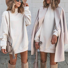 literary Pure Colour High Collar Sweatshirt Dress