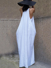 Dovechic Loose White Sleeveless V-neck Long Dress