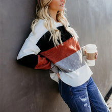 Color Matching Round Neck Sweater
