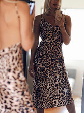 Leopard V-neck Halter Dress
