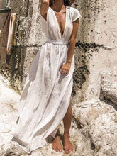 Dovechic Deep V-neck Backless Empire Beach Cover-ups