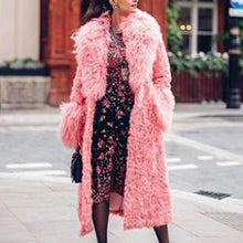 Fashion Faux Fur Hair Collar Long Sleeve Long Overcoat