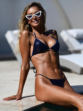 Dovechic Sequined Lace Up Bikini Swimsuit