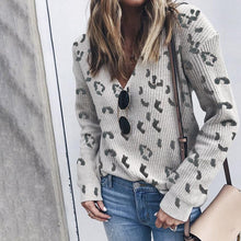 Fashion Leopard V-Neck Long-Sleeved Sweater