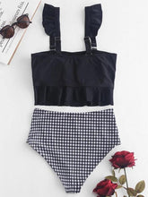 Dovechic Ruffle High Waisted Stripe Plaid Bikini Swimsuit