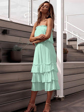 Dovechic Solid Strapless Tiered Two-piece Dress