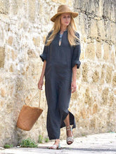 Dovechic Simple Loose V-neck Split-side Maxi Dress