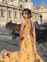 Dovechic Pretty Bohemia Floral V Neck Backless Maxi Dress