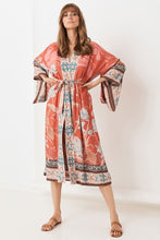 V Neck Long Sleeve Printed Colour Belted Loose Cardigan