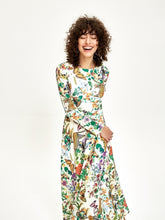 Leopard-butterfly Print Long Sleeve Billowing Midi Dress