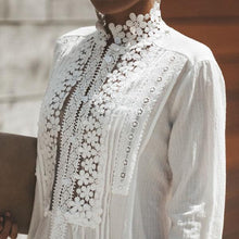 Cotton High Neck Lace Single Breasted Blouses