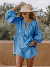 Women Solid V Neck Loose Casual Shirt Dresses