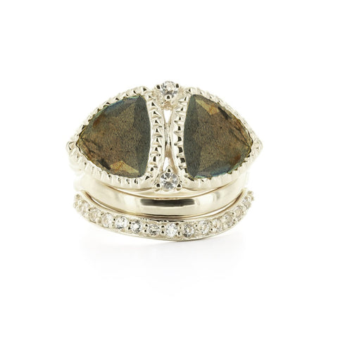 Balance, Poise, Love Stacking Rings Labradorite & Silver