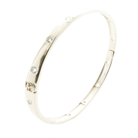 Love Oval Bangle White Topaz & Silver