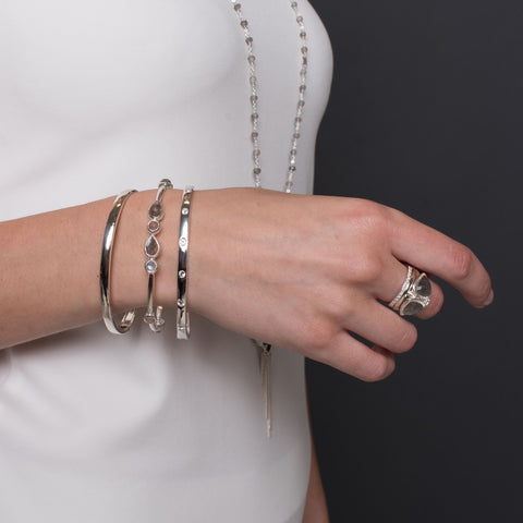 Left: Poise, Fearless & Love Bangles Right: Balance, Poise, Love Stacking Rings