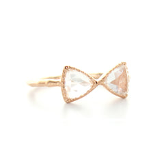 MINI FREEDOM BOW TIE RING - WHITE TOPAZ & ROSE GOLD