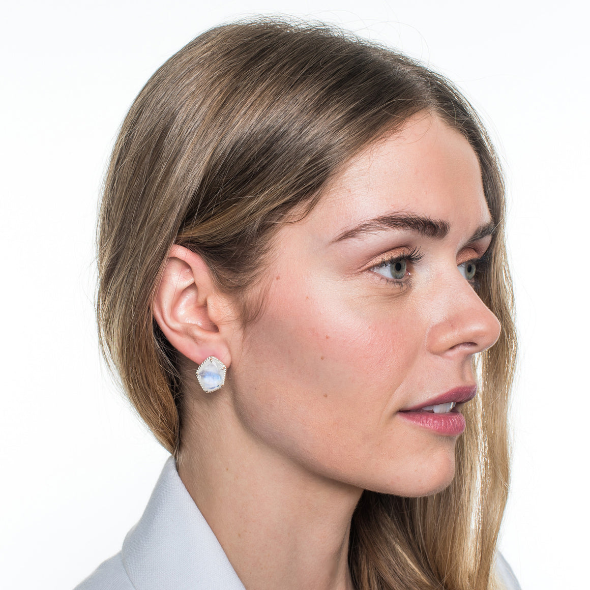 HONOUR STUD EARRINGS - RAINBOW MOONSTONE & SILVER