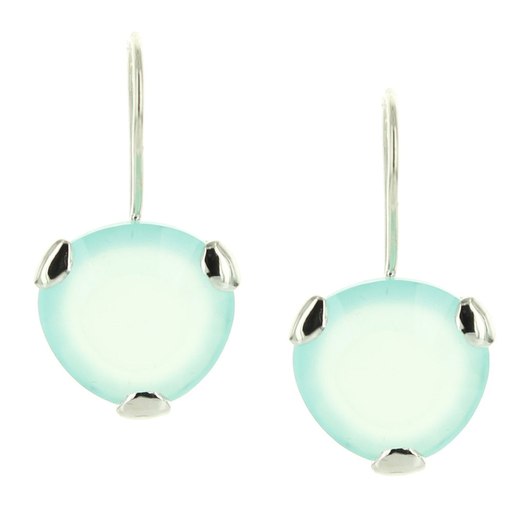 FEARLESS DROP EARRINGS - AQUA CHALCEDONY & SILVER