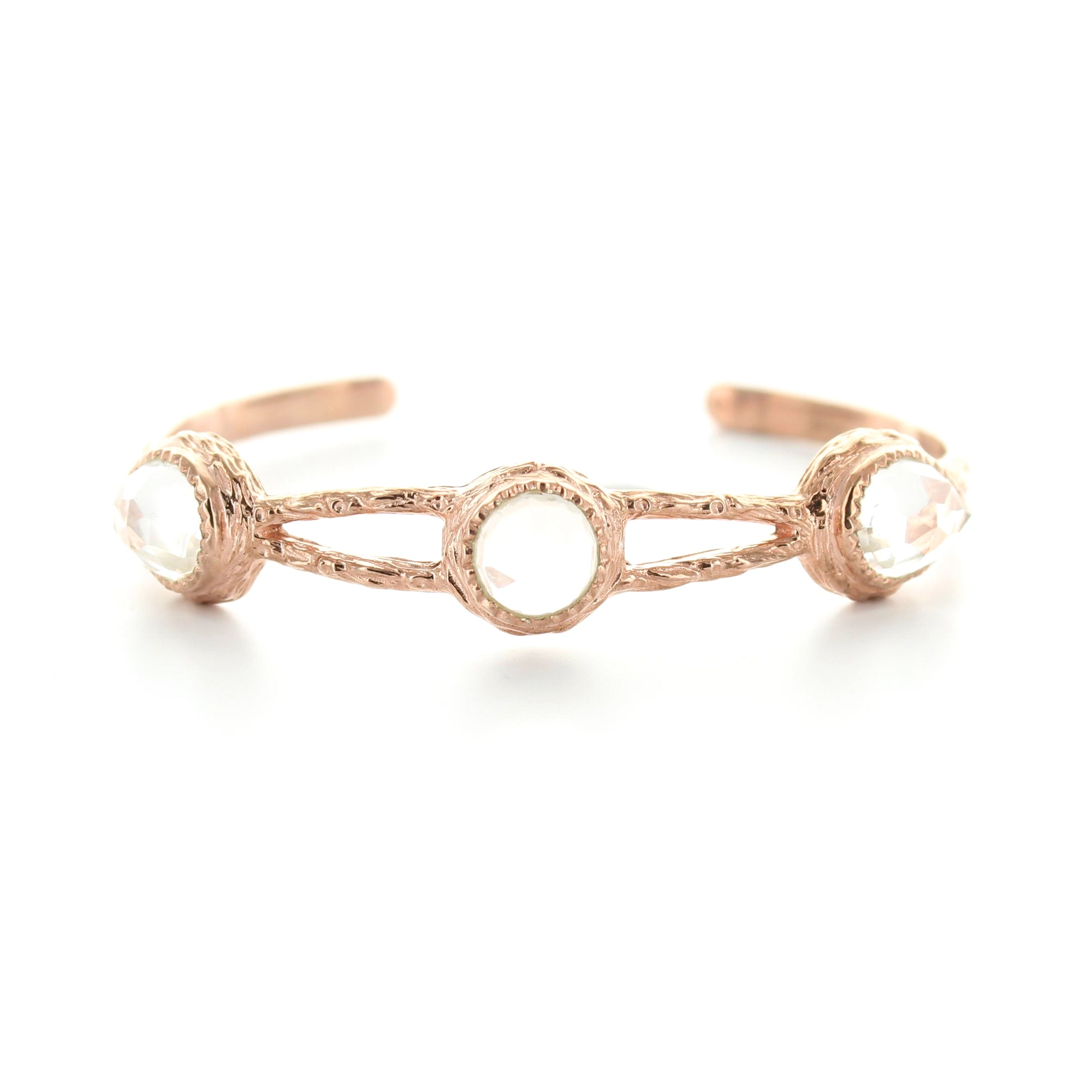 ADORE LINKED CUFF - ROCK CRYSTAL & ROSE GOLD