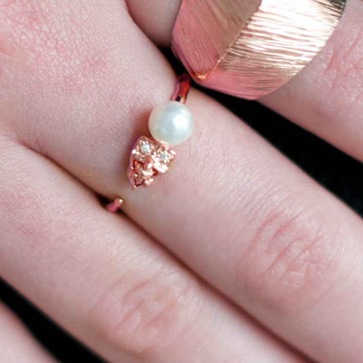 FIERCE ADJUSTABLE RING - FRESHWATER PEARL, CUBIC ZIRCONIA & ROSE GOLD