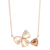 MINI FREEDOM DOUBLE BOW TIE NECKLACE - WHITE TOPAZ & ROSE GOLD