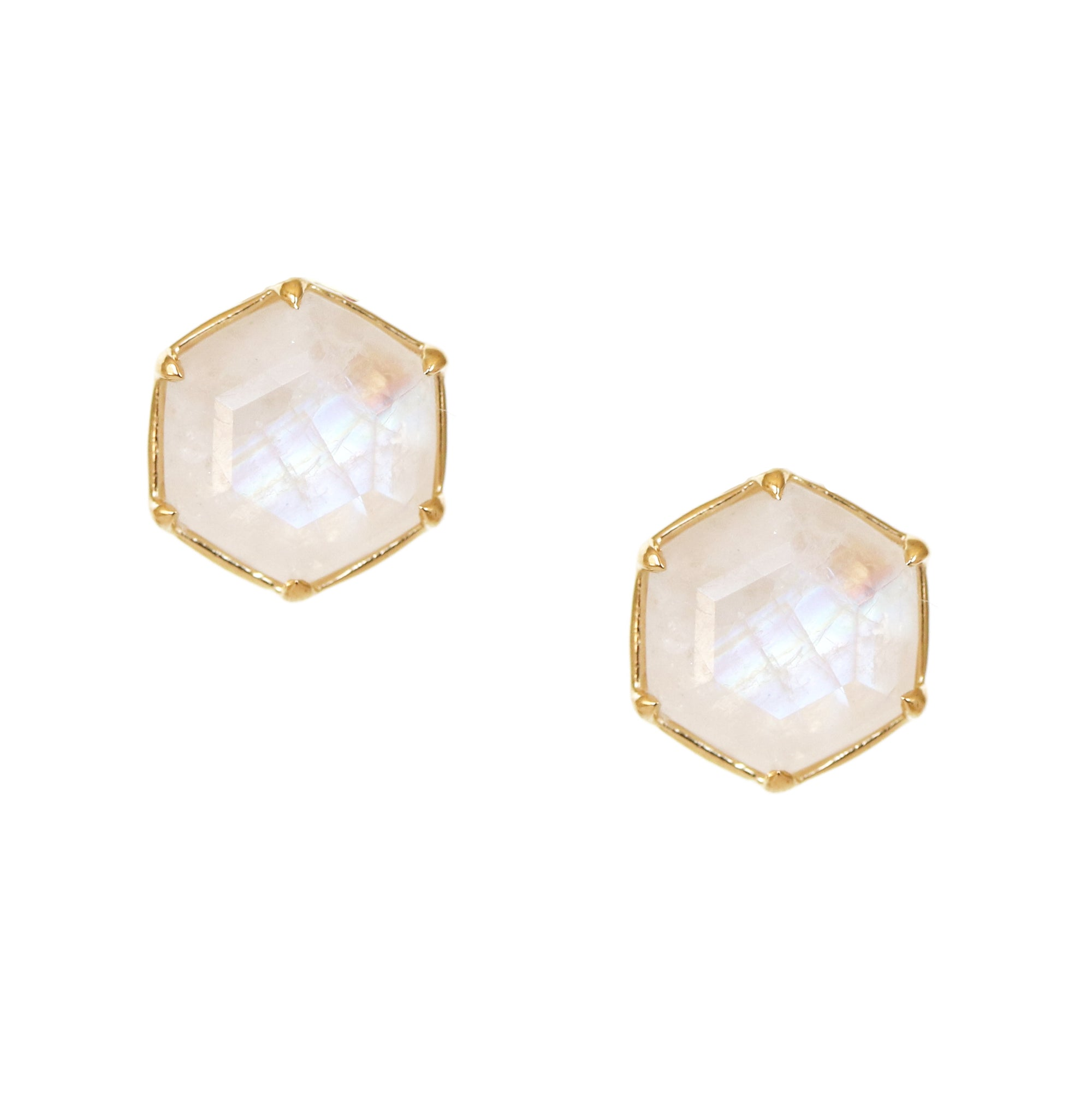 GRACE HEXAGON STUD EARRINGS - RAINBOW MOONSTONE & GOLD