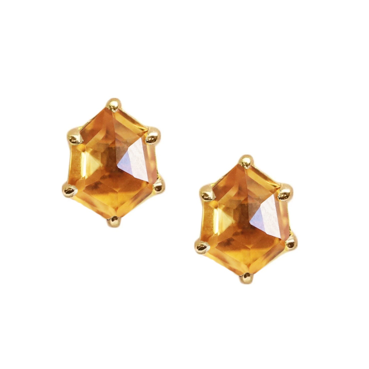 MINI HONOUR SHIELD STUD EARRINGS - CITRINE & GOLD