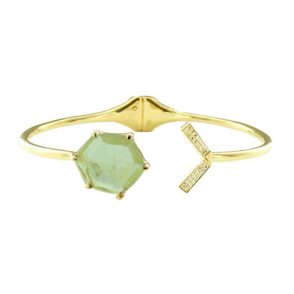 HONOUR SHIELD LOVE CUFF - MINT PREHNITE, CUBIC ZIRCONIA & GOLD