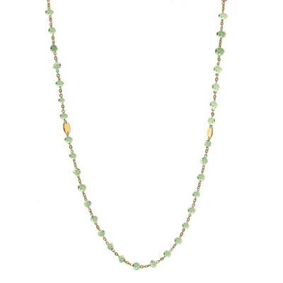 ICONIC LONG BEADED NECKLACE - MINT PREHNITE & GOLD 34""