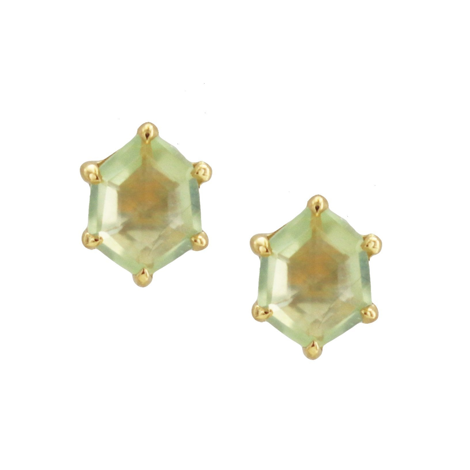 MINI HONOUR SHIELD STUD EARRINGS - MINT PREHNITE & GOLD