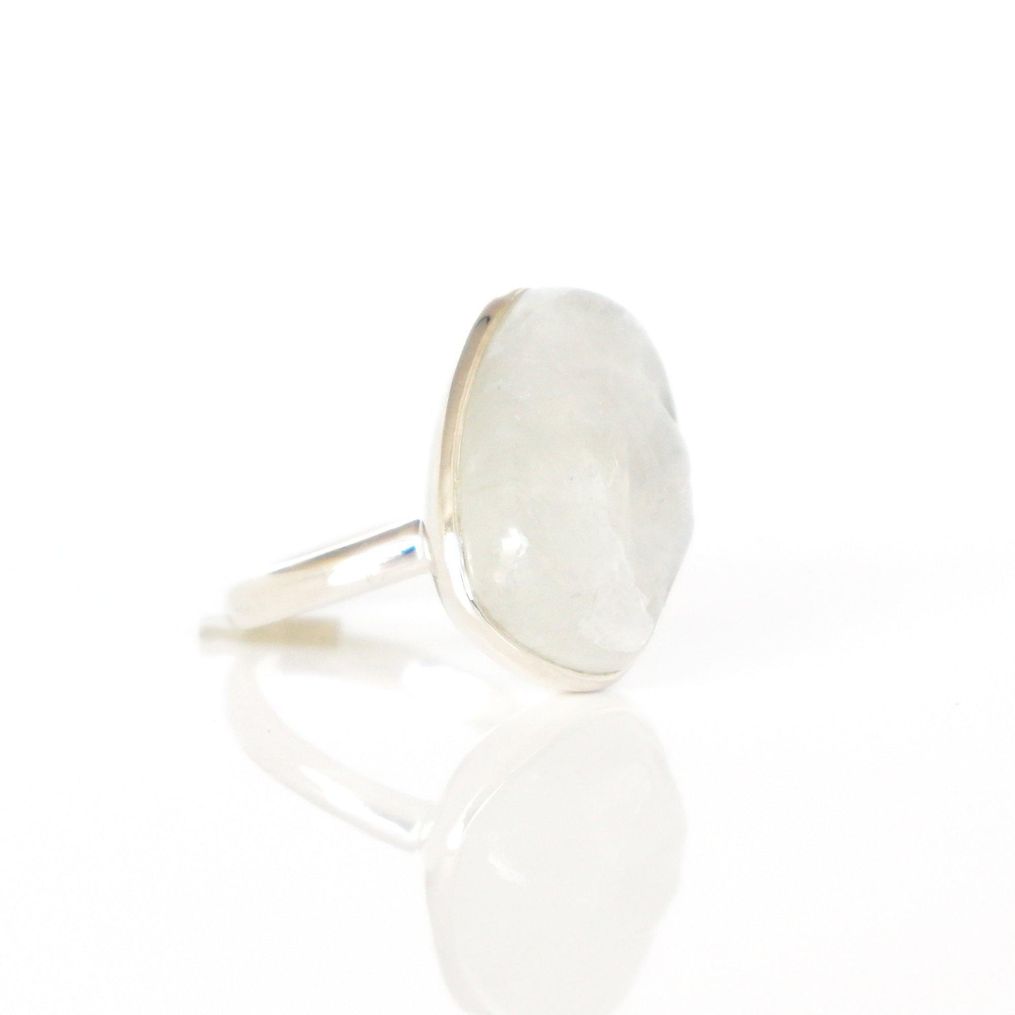 DARING RING - RAINBOW MOONSTONE & SILVER