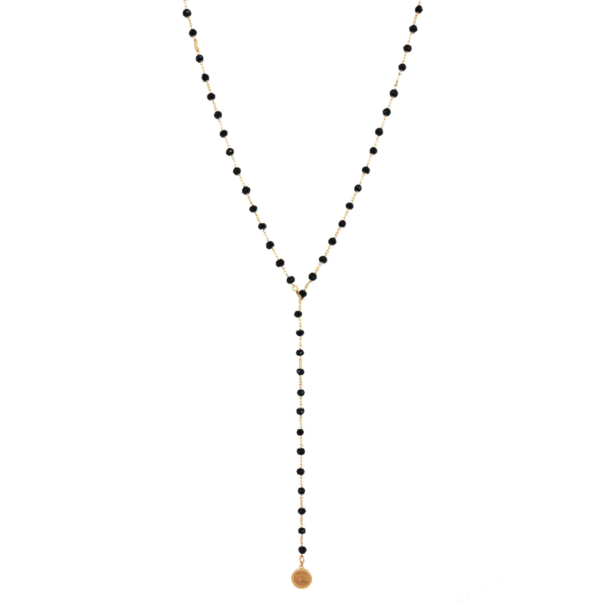 ICONIC LONG BEADED NECKLACE - BLACK ONYX & GOLD 34""
