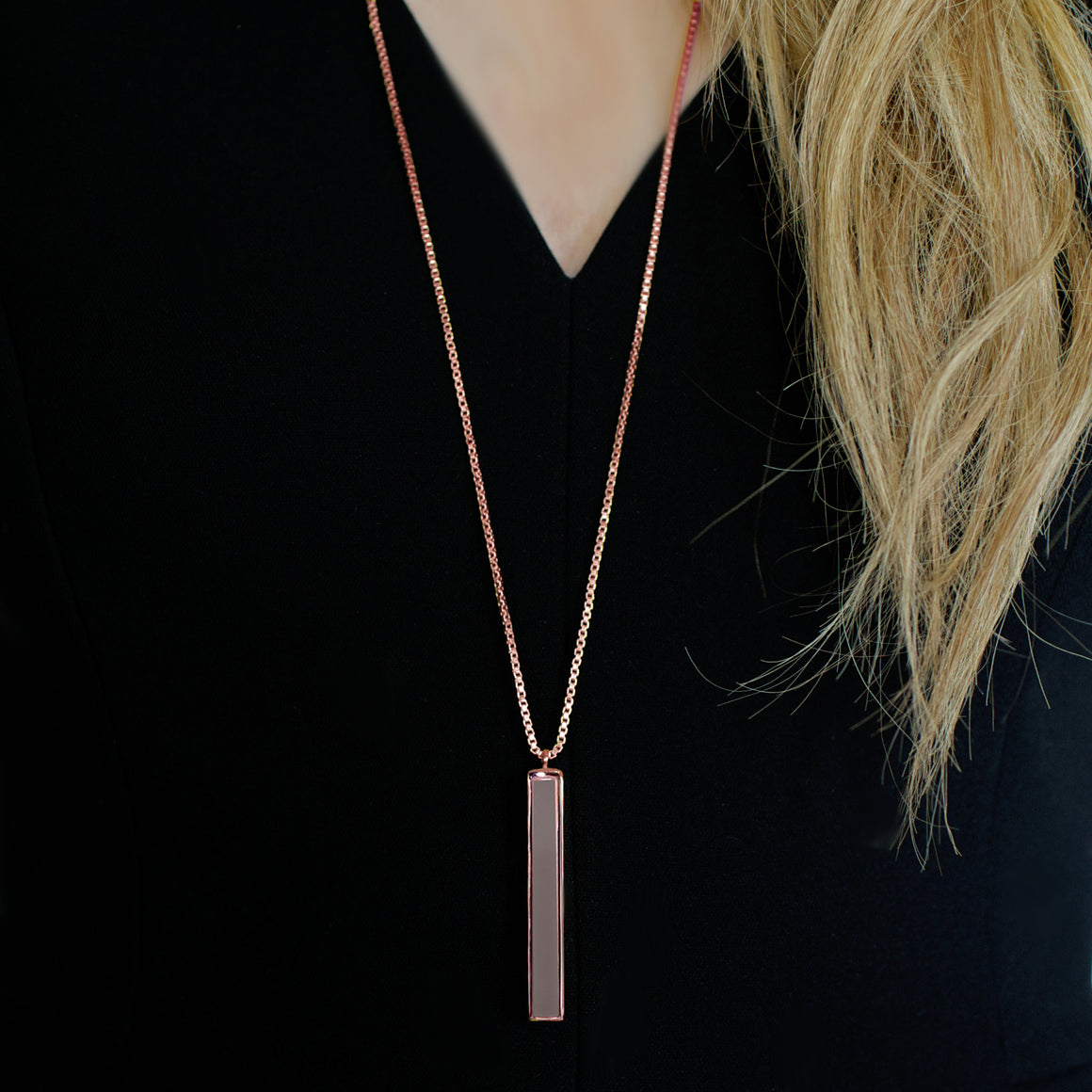 JOY REVERSIBLE NECKLACE - SLATE GREY AGATE & ROSE GOLD