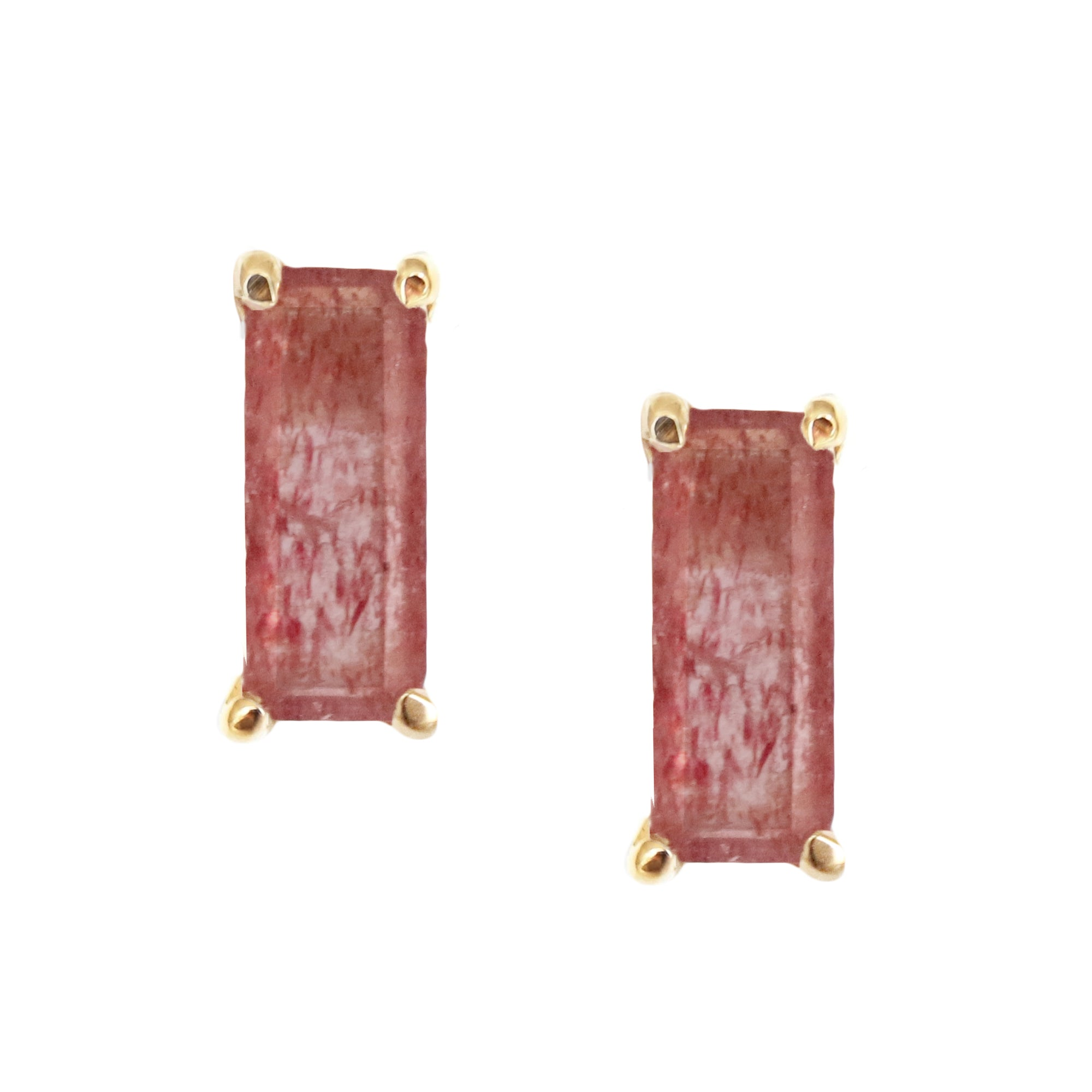 DAY 8 - LOYAL STUD EARRINGS - CRANBERRY QUARTZ & GOLD