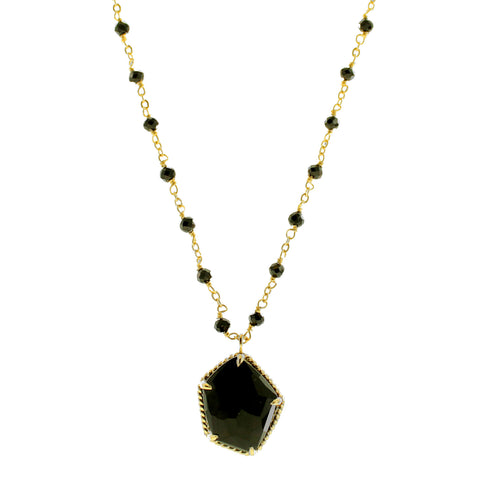 HONOUR MIDI BEADED NECKLACE - BLACK ONYX & GOLD