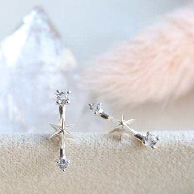 TINY IMAGINE SHOOTING STAR STUDS - CUBIC ZIRCONIA & SILVER