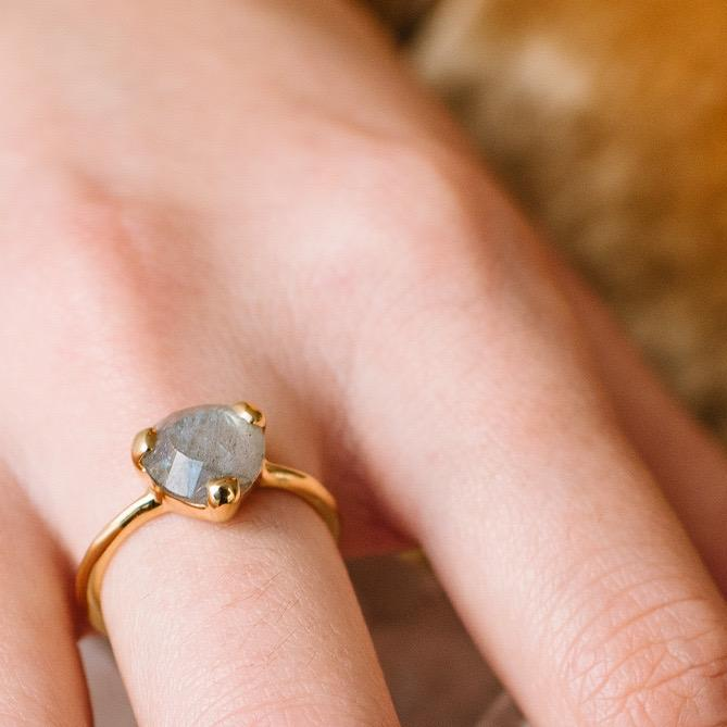 MINI FEARLESS RING - LABRADORITE & GOLD