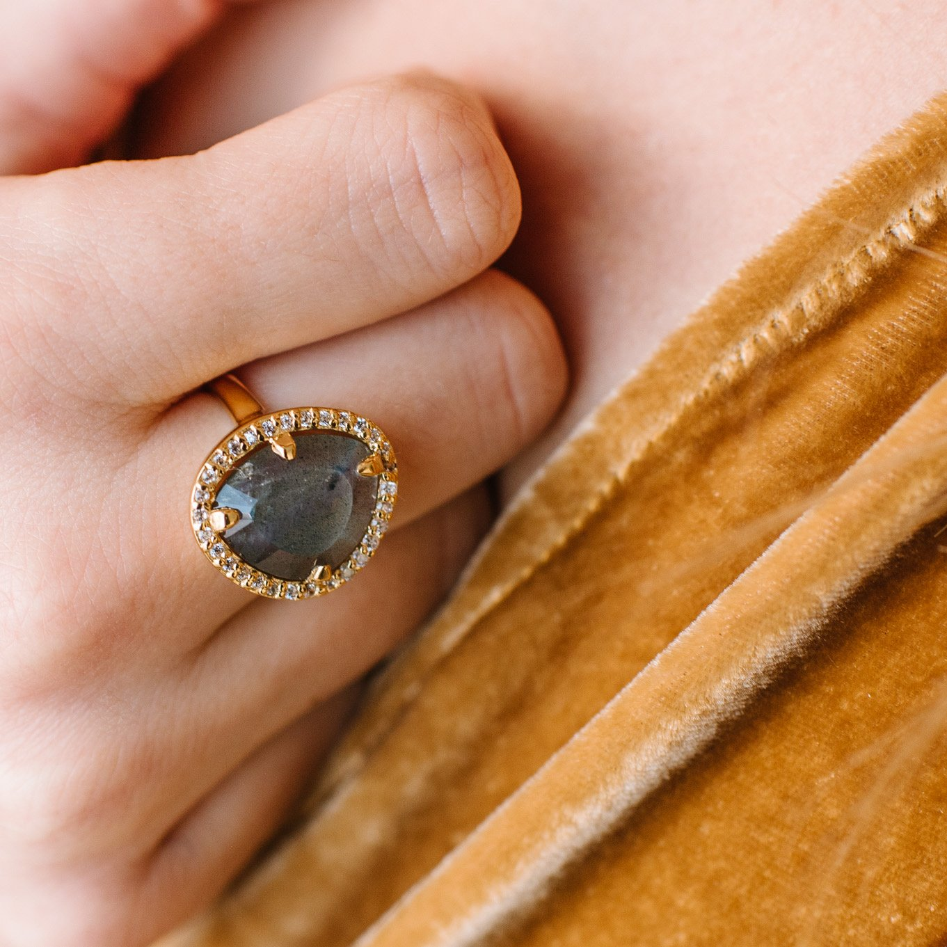 DREAM LUNA COCKTAIL RING - LABRADORITE, CUBIC ZIRCONIA & GOLD
