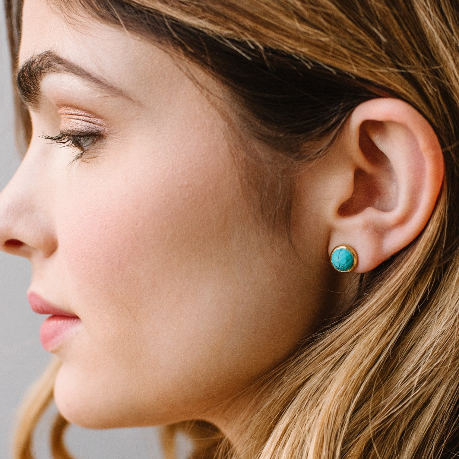 DAINTY LEGACY STUDS - TURQUOISE & GOLD